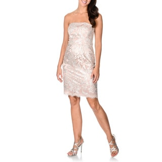 Decode 1.8 Women's Silver and Pink Sequined Lace Strapless Dress