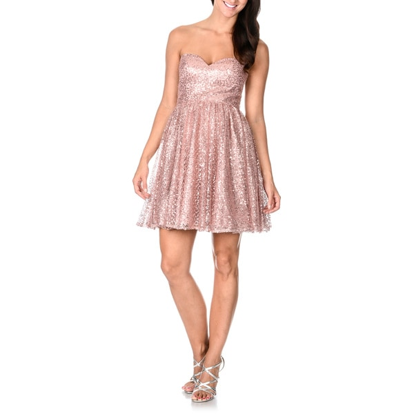 Decode 1.8 Women's Blush Pink Sequined Strapless Dress
