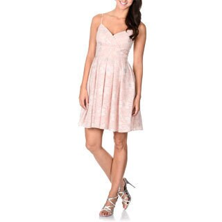 Decode 1.8 Women's Pink Sparkle Lace Fit-and-Flare Dress