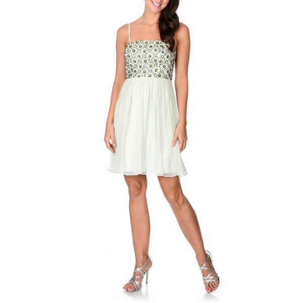Decode 1.8 Women's Mint Green Sequined Bodice Babydoll Dress