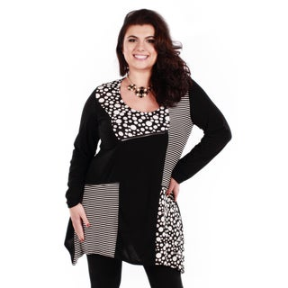 Women's Plus Long Sleeve Spotted Stripped Tunic