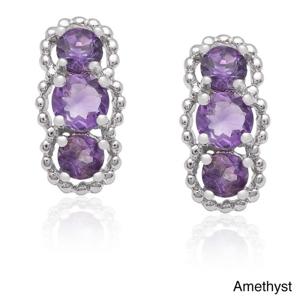 Dolce Giavonna Sterling Silver Gemstone Drop Earrings