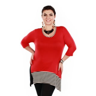 Women's 3/4-length Sleeve Solid Stripped Accent Tunic