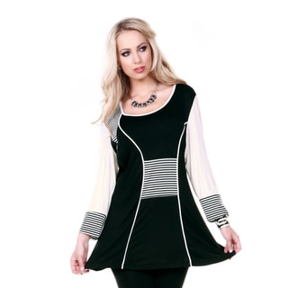 Women's Long Sleeve Stripped Accent Tunic