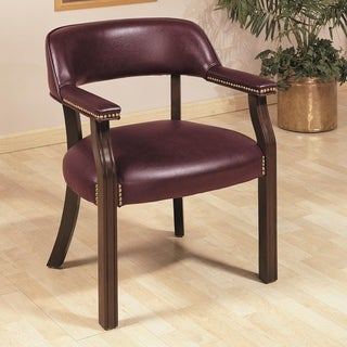 Vinyl Upholstered Mahogany Office Guest Chair