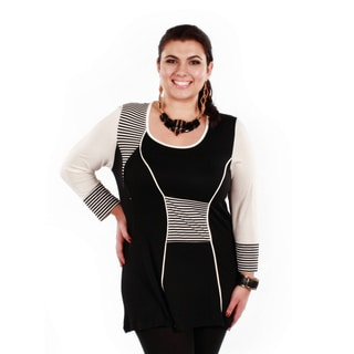 Women's Plus Long Sleeve Stripped Accent Tunic