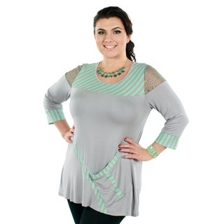Women's Plus Grey Long Sleeve Lace Shoulder Stripped Tunic