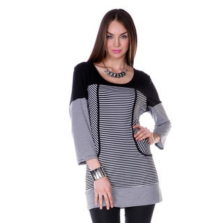 Women's Black Stripped 3/4-length Sleeve Top