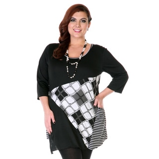 Women's Black and White Patchwork Pattern 3/4-sleeve Top