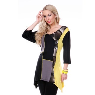 Women's Black/ Yellow Square-stitched Tunic