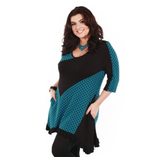 Women's Plus Size Black and Teal Duo-pattern Tunic