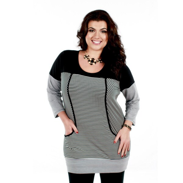 Firmiana Women's Plus Size Black/ White Striped Layer-look Top