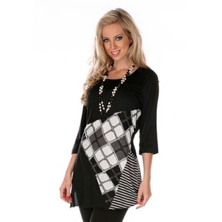 Firmiana Women's Black Patchwork Prints 3/4-sleeve Top