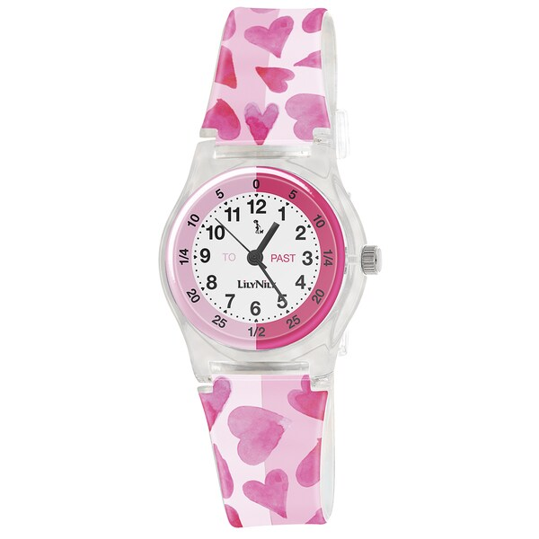 Lily Nily Kids' Plastic and Stainless Steel Pink Hearts Watch 13597599