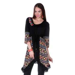 Women's Black and Multicolored 3/4-sleeve Tunic