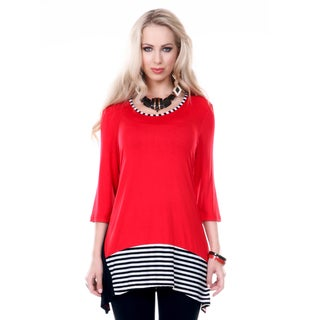 Women's Red and Black Striped Accent Tunic