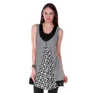 Women's Black Multi-pattern Sleeveless Tunic