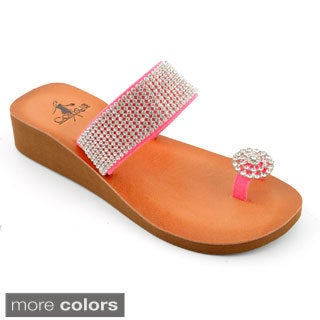 Corkys Women's 'Cleveland' Rhinestone Strap Flat Sandals