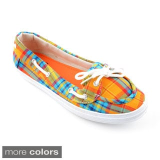 Corkys Women's 'Deckit' Plaid Fabric Boat Shoes