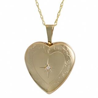 Fremada 10k Yellow Gold Diamond Accent Heart Locket Necklace (18-inch)