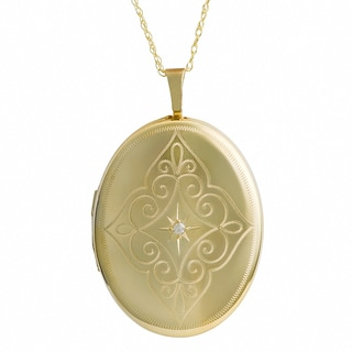 Fremada 10k Yellow Gold Oval Locket Diamond Accent Necklace (18 inch)