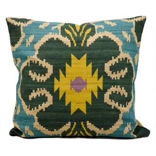 Kathy Ireland Turquoise Ikat 18-inch Pillow