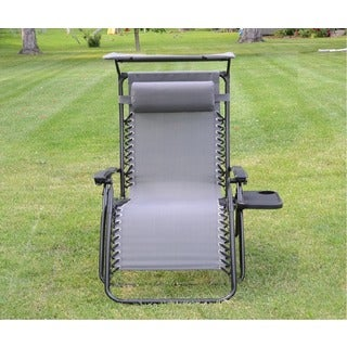 Styled Shopping Deluxe Zero Gravity Grey Chair with Canopy and Tray