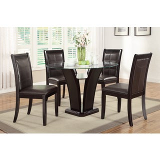 Derik 5-piece Dining Table and Luxury Dark Espresso Finished Chairs Set