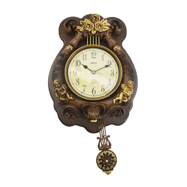 Antique Designed Angel Wall Clock with Swinging Pendulum