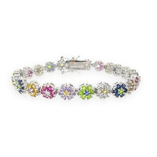 Icz Stonez Sterling Silver Multi-colored CZ Flower Bracelet