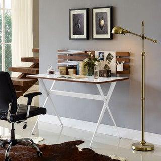 Knack Cherry Wood and White Melamine Desk
