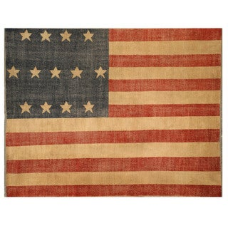 EORC Red Hand-knotted Wool American Flag Rug (5' x 8')