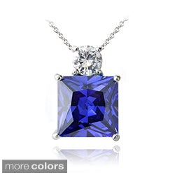 Icz Stonez Sterling Silver Colored Princess CZ Pendant (5 options)