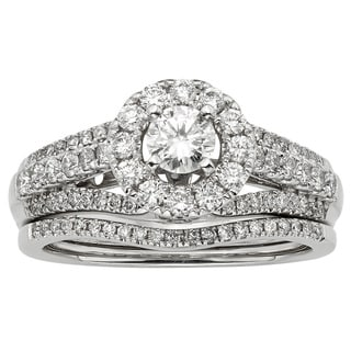 14k White Gold 1ct TDW Certified Round Diamond Bridal Set (H-I, I1-I2)