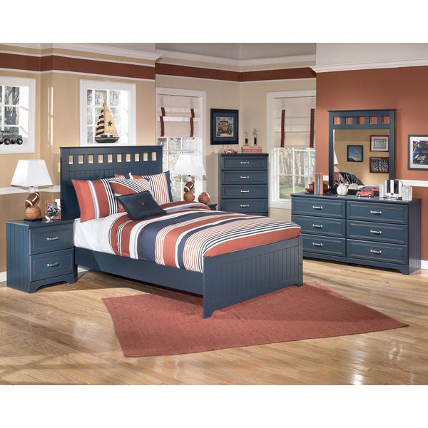 Signature Designs by Ashley Leo Blue Panel Bed Set