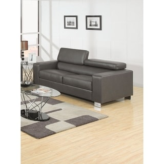 Furniture of America Mazri Bonded Leather Pneumatic Gas Lift Headrest Sofa