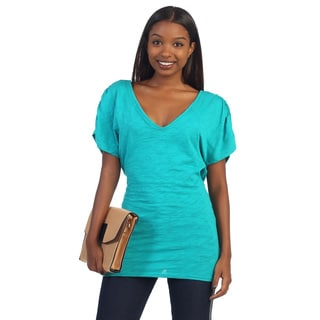 Hadari Women's Teal Draped-back Top