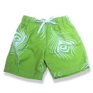 Boys Green Feather Print Swim Shorts