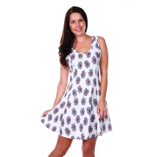 White Mark Women's Floral Print Fit-and-Flare Dress