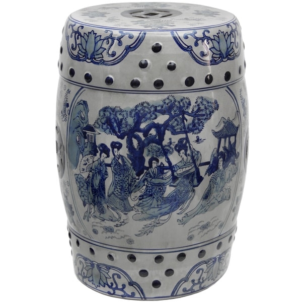 18-inch Ladies Blue and White Porcelain Stool (China)