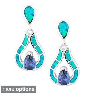 La Preciosa Sterling Silver Blue Opal and Cubic Zirconia Teardrop Earrings