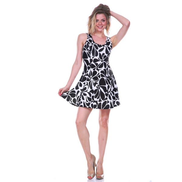 White Mark Women's Black and White Floral Print Fit-and-Flare Dress