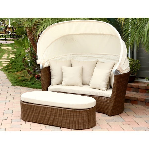 Abbyson living palermo outdoor brown wicker cabana canopy for Outdoor cabana furniture
