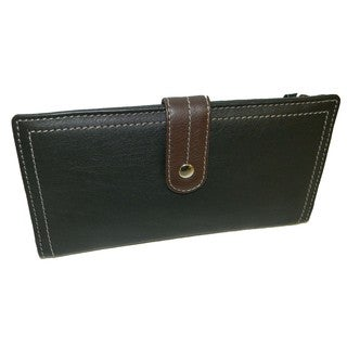 Paul & Taylor Women's Black and Brown Leather Checkbook Wallet