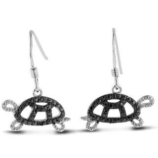 Sterling Silver Black Diamond Accent Turtle Dangle Earrings