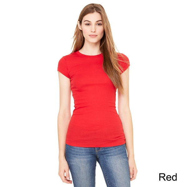 Bella Women's Sheer Mini Rib Short Sleeve T-shirt