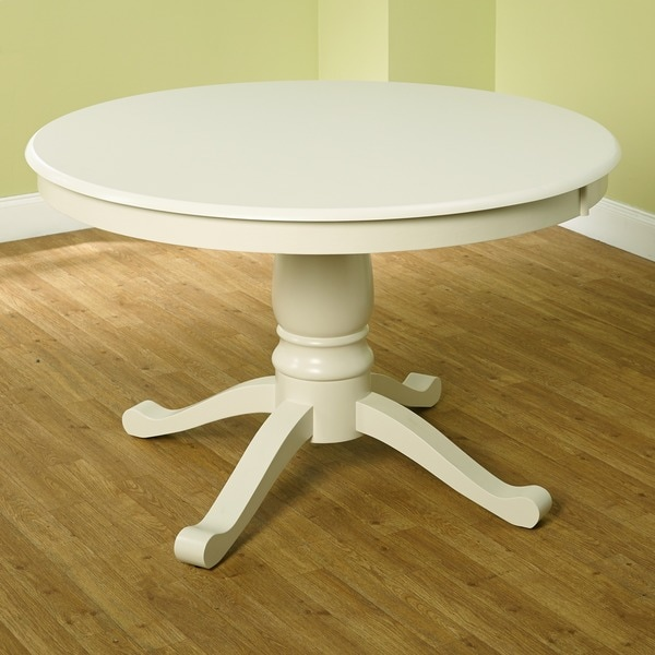 White Pedestal : Simple Living Alexa Round Antique White Pedestal Dining Table ...