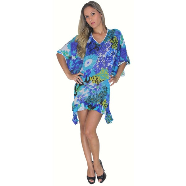 La Leela Women's Blue Floral Print Beach Wrap Cover-up Kaftan