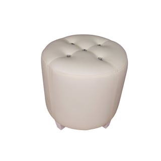 Forza Round White Ottoman Stool with Crystal Accents