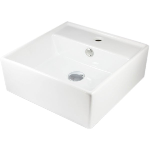 European Style Square Shape Porcelain Ceramic 16-inch Bathroom Vessel Sink